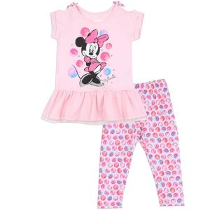 🎁🍁Pnk Minnie Leggings Set! With Tulle! Size 5